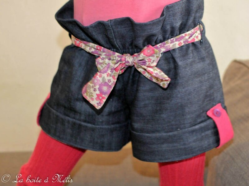 ensemble short jean Mélie zoom short face