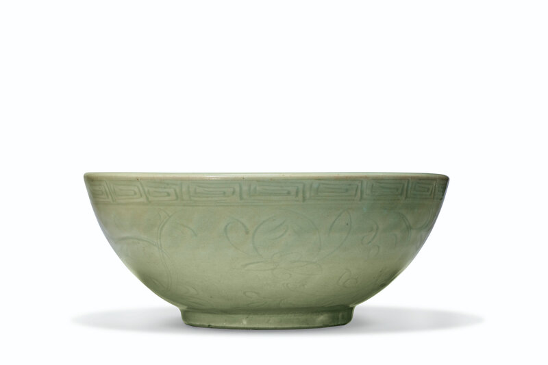 A large carved Longquan celadon bowl, Ming dynasty (1368-1644)