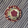 Broche Sakura en fimo et tissu traditionnel