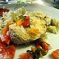 Merlu aux petits legumes au four