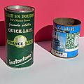 Deux boîtes de conserve anciennes des années 50 ou 60 ! des petits pois jean le reun et une boîte quick lait...