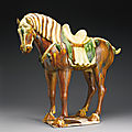 A sancai-glazed pottery figure of a horse, Tang dynasty (618-907)