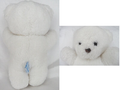 Doudou Peluche Ours Blanc Vintage Nounours 28 cm