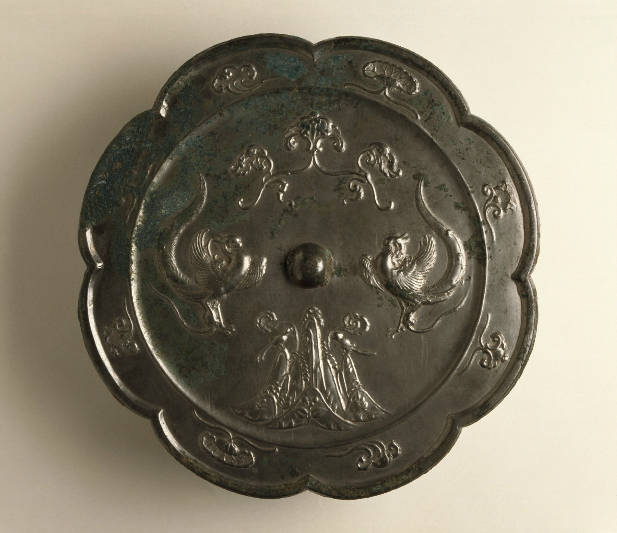 Mirror (Jing) with Mountains, Phoenixes, and Clouds, China, Middle Tang dynasty, about 700-800