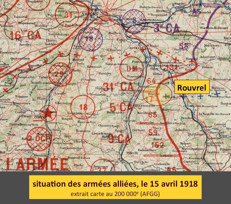 Rouvrel sur carte au 200 000e, 15 avril 1918, légendé