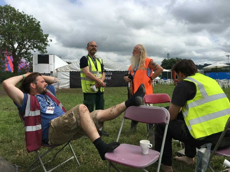 Jonathan Badger Jim Fox Glastonbury 2016 John Peel Stage site crew