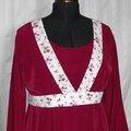 Robe microfibre bordeaux piqué coton roses rouges (Simplicity 3762) 2