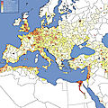 Europe population density, absolute amount