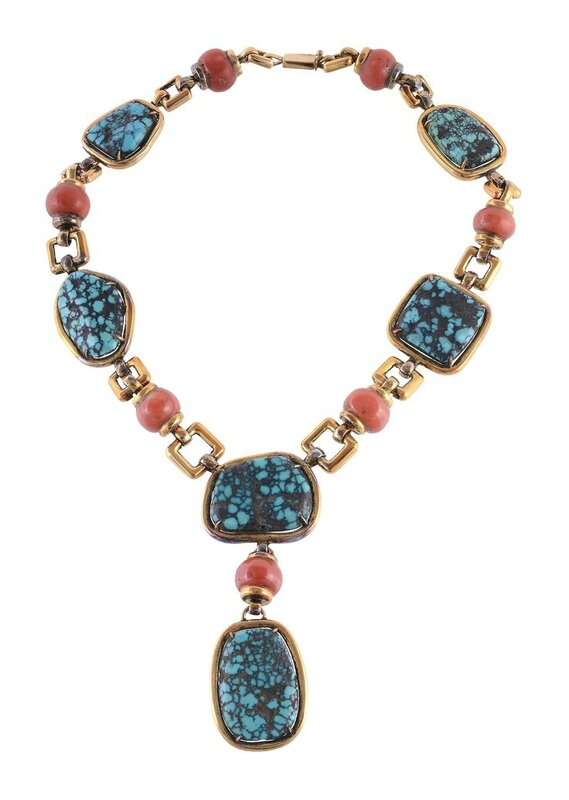 A coral and turquoise necklace by Trio