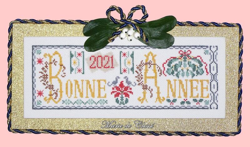 SAL Bonne Année 2021 Chez Mimi Terminé et présenté Broderie 25x10cm