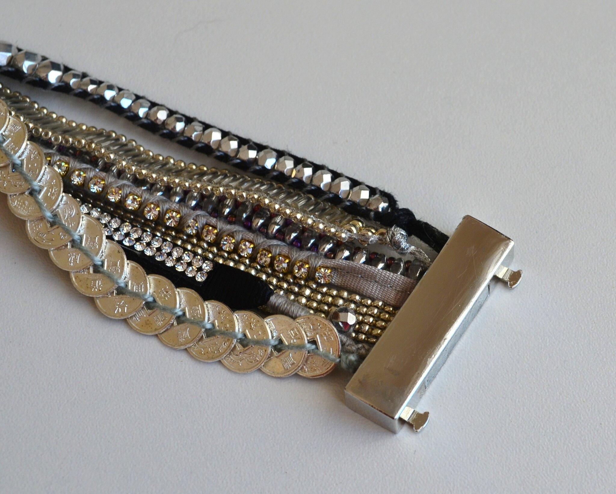 bracelet manchette tissé perles façon hip