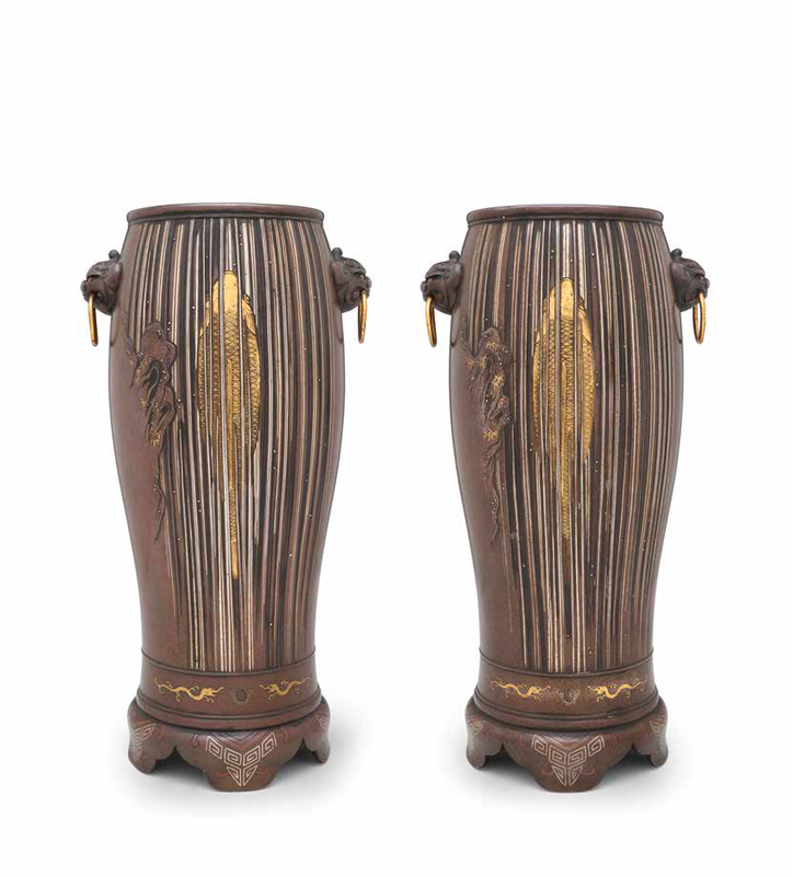 Artist unknown, A Pair of Bronze Vases Decorated with Carp and Waterfall, Meiji era (1868–1912), late 19th century