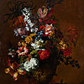 Jean-baptiste monnoyer, still life of flowers, with tulips, anemones and hyacinths in a stone vase with lions