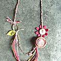 Sautoir chaîne et fleurettes - rose et vert
