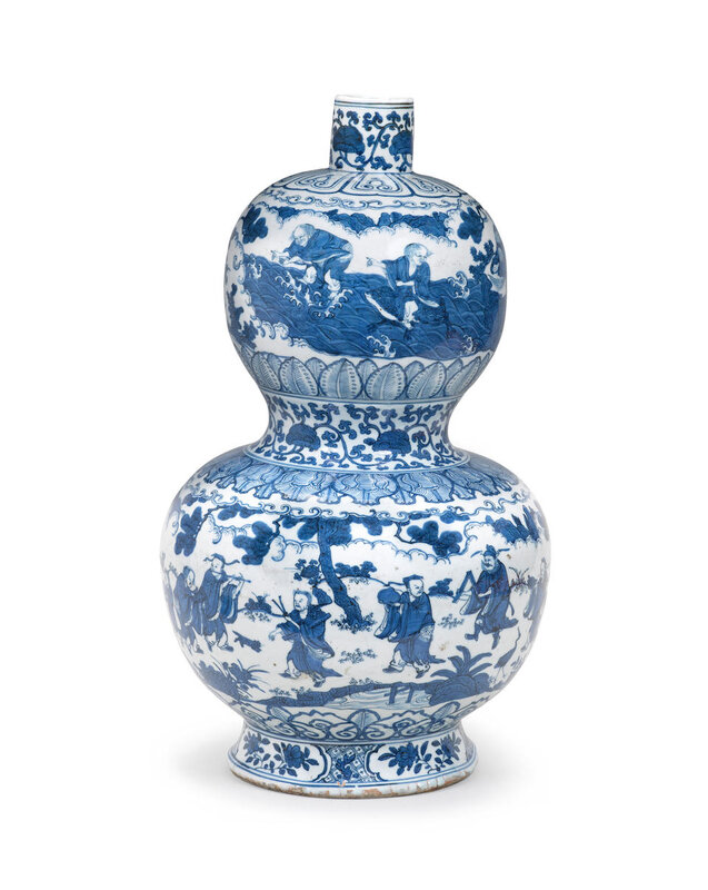 An exceptionally rare and large blue and white 'Immortals' double-gourd vase, Jiajing six character mark and of the period