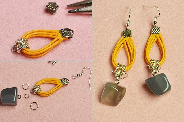 Easy Earrings Design – How to Make a Pair of Gemstone Dangle Earrings with Orange Cords (1)