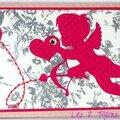 carte fille avec cupidon fuchsia