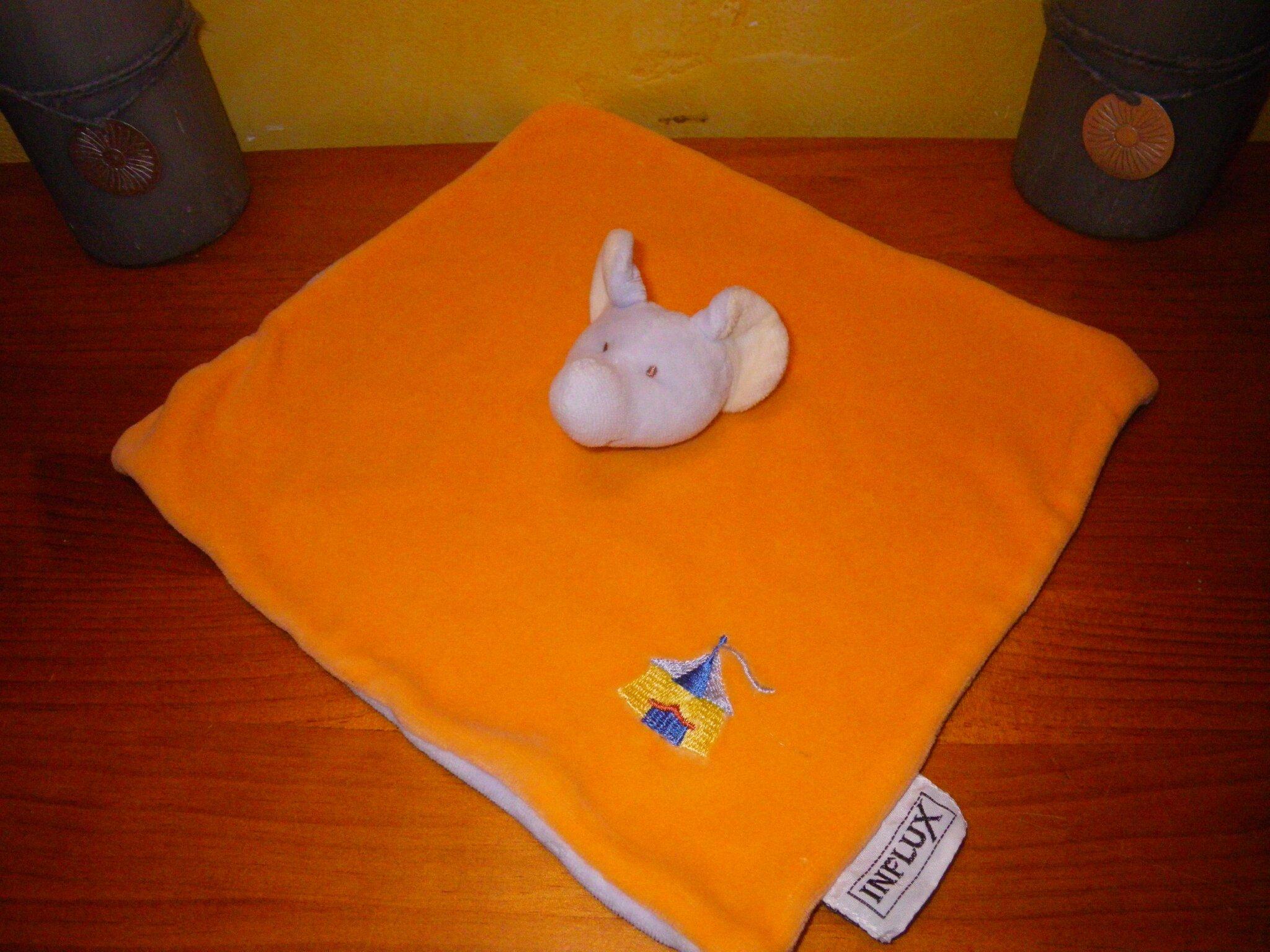 éléphant marque Influx motif chapiteau de cirque, doudou plat orange