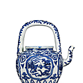 A blue and white 'dragon and phoenix' tea pot, wanli six-character mark and of the period (1573-1619)