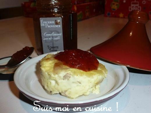 Flan boudin blanc et condiment tomate thym 3