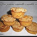 Muffins pomme cannelle crumble noix...