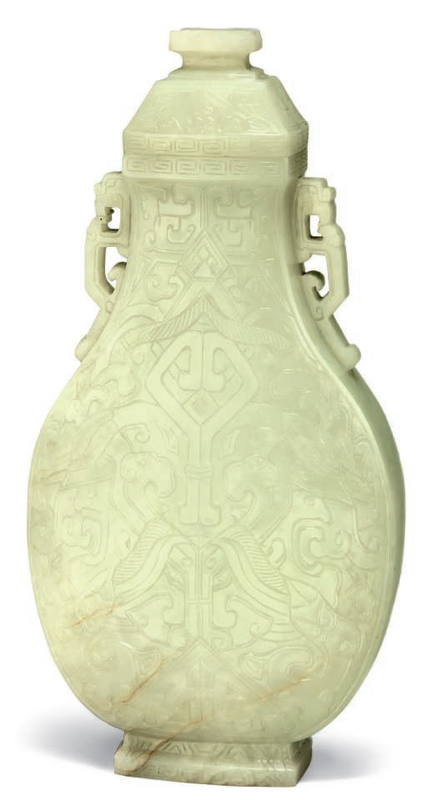 A pale celadon vase and cover, 18th-19th century