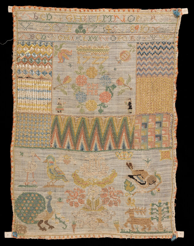 Sampler (linen with polychrome silks, Germany, 1727)