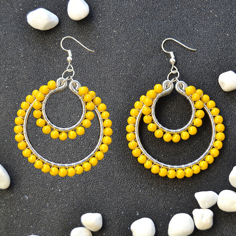 PandaHall-DIY-Design-on-Orange-Glass-Beads-Wire-Wrapped-Hoop-Earrings-5