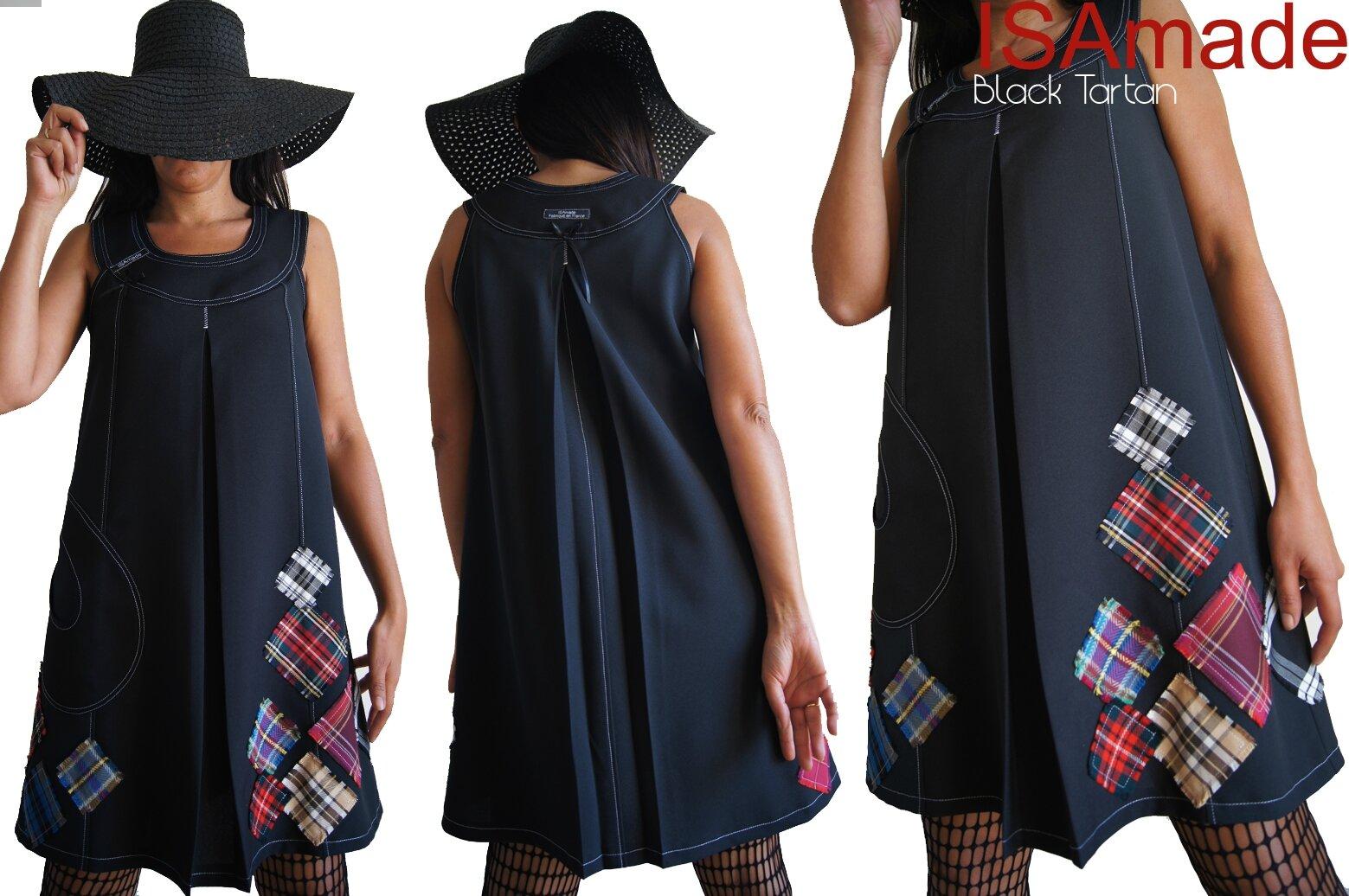 Robe Noire trapèze Noire et applications de Tartan écossais carreaux frangés colorés Coupe Sixties