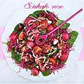 Salade girly pour un dîner healthy {épinard, radis, tomate, cerises, pousses de betteraves et bacon fumé}