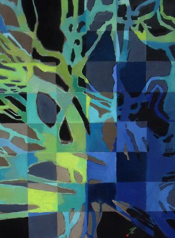 350€-2016- Arbre sur damier- Huile sur papier, sous verre- 70x50cm