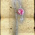 MP fimo rose blanc et fushia et libellule (N)