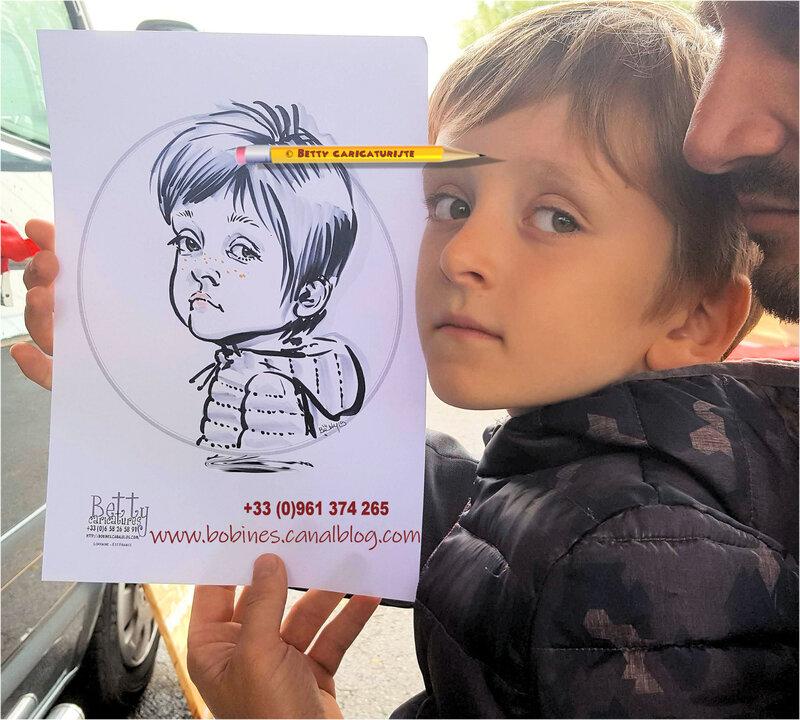 Enfant caricature fete village animation caricaturiste maquillage ballons sculpture