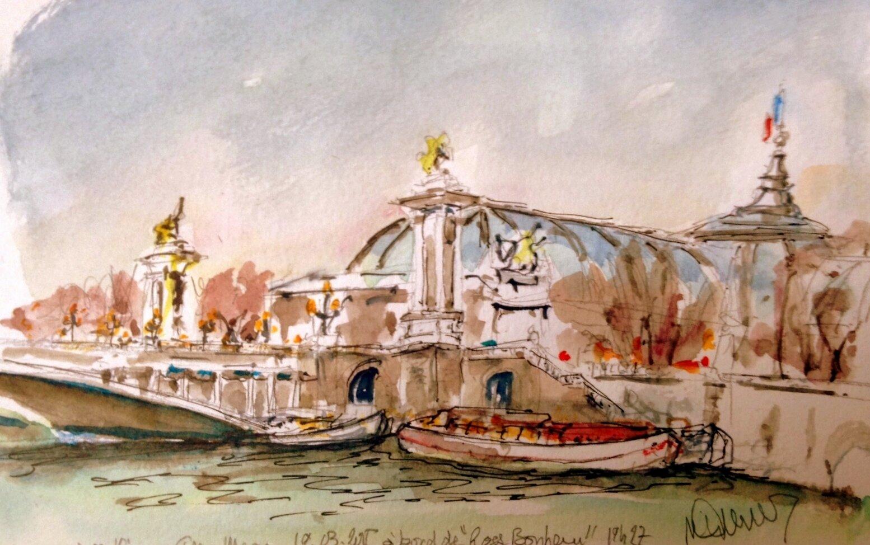 Grand Palais et pont Alex III soir