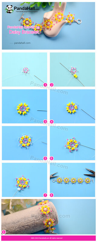 3-PandaHall Tutorial on Daisy Bracelet