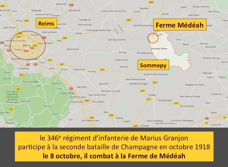 Reims, Sommepy, Médéah, carte actuelle légendée