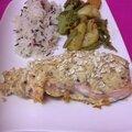 Papillote de saumon, boursin à la figue et 3 noix, chapelure de flocons d'avoine