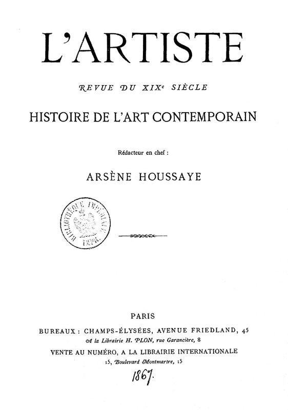 L'Artiste, couverture, 1867