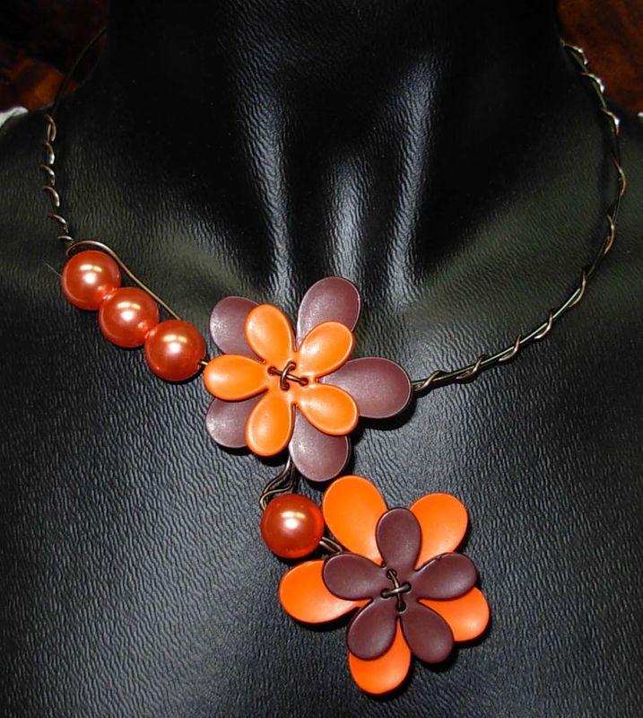 collier fleur orange/chocolat