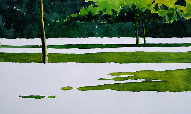 le jardin de st benoit (2), aquarelle , juillet 2018