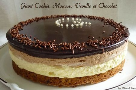 Giant cookie mousses vanille et chocolat