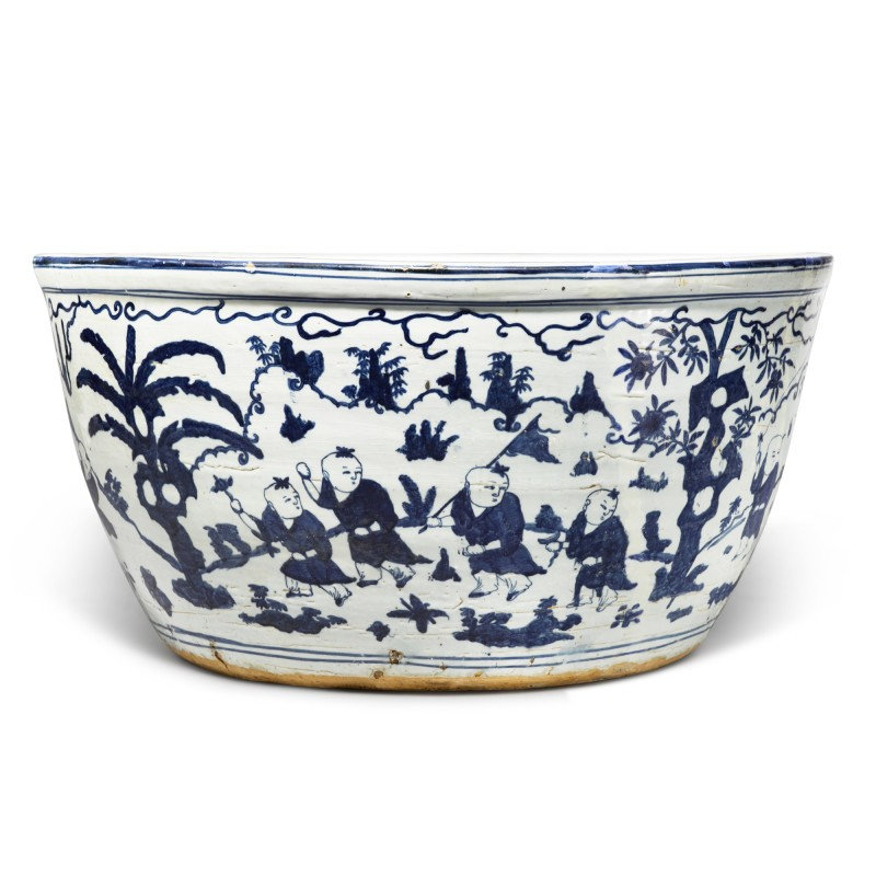 A very large blue and white 'boys' fishbowl, Mark and period of Jiajing (1522-1566)