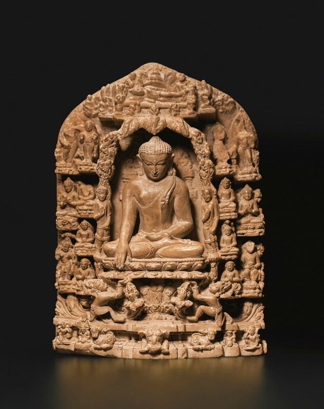 A Fine Sedimentary Stone Stele Depicting Scenes from the Life of Buddha, Eastern India, Pala period, 11th-12th Century