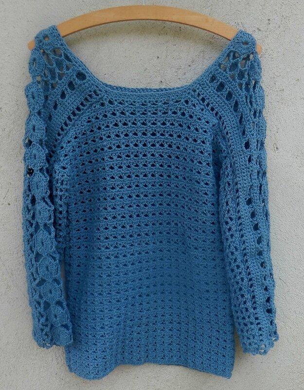 pull coton crochet jean