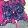 Toque fuschia punch violet et broche (5)