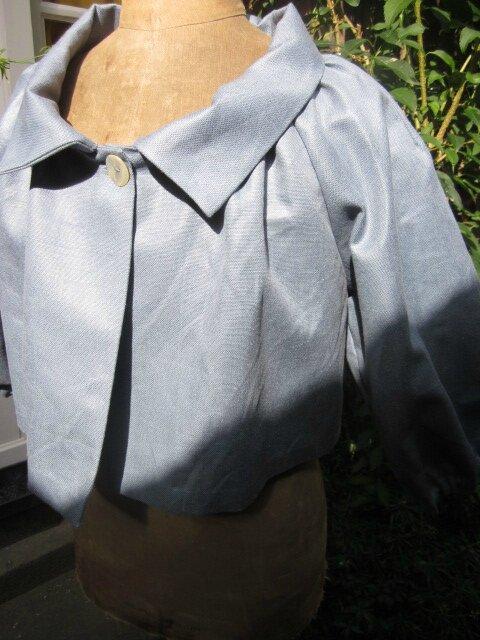 Veste BLANCHE en lin gris bleuté (6)