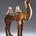 A Sancai-Glazed Pottery Figure of a Braying Camel, Tang Dynasty (618-906)