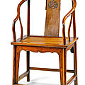 A huanghuali horseshoe-backed chair, quanyi, 17th-early 18th century
