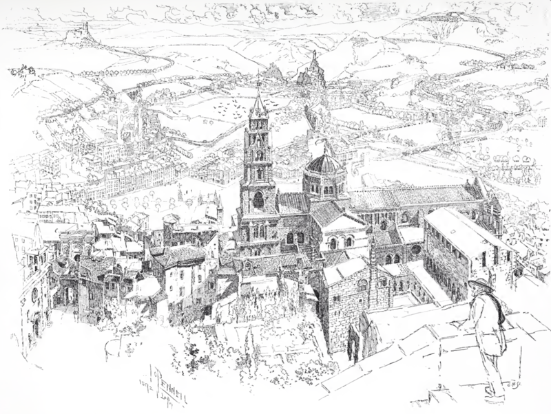800px-The_Cathedral_and_City_of_Le_Puy-en-Velay_-_drawing_by_Joseph_Pennell