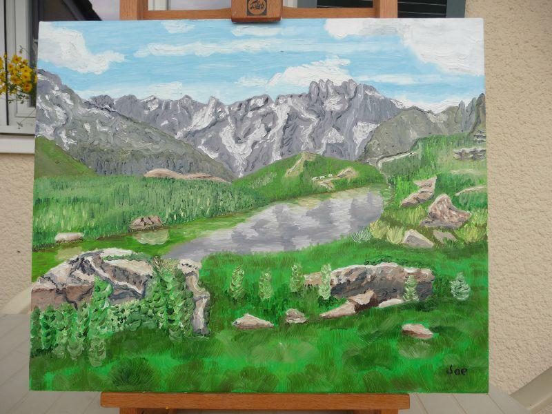 Peinture fait par moi d'un lac dans les Alpes,